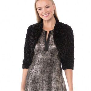 Robbie Lee Fur Faux bolero short black jacket XL